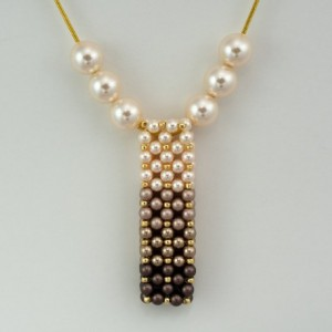Brown Ombre' Swarovski Pearl Vertical Slide Bar Pendant necklace
