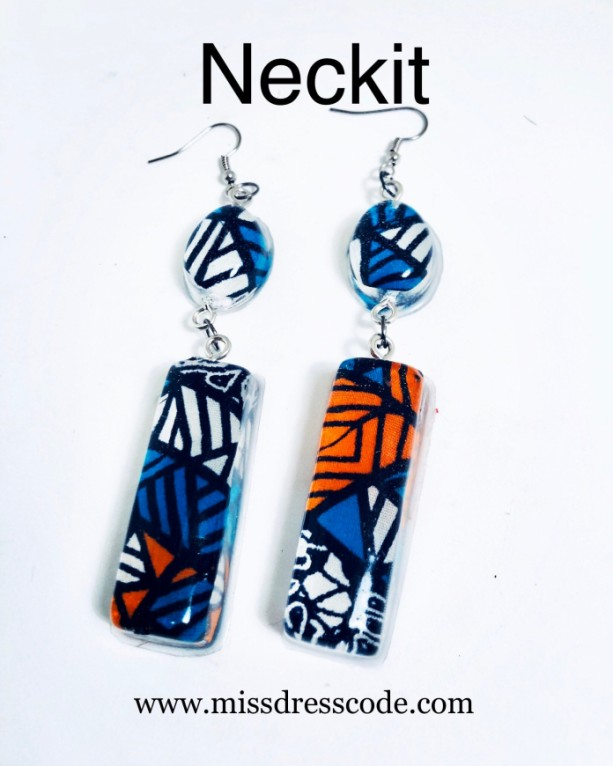 African Print Fabric in Resin Dangle Earrings