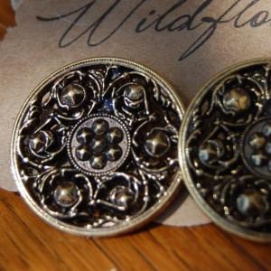 Metal Ornate Filigree Patterned Button Stud Earrings