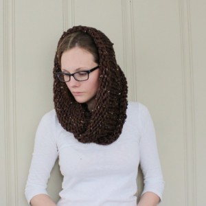 SALE - Infinity Scarf No. 2 in Brown Tweed - Circle Scarf - Neckwarmer - Cowl Scarf - Ready to Ship