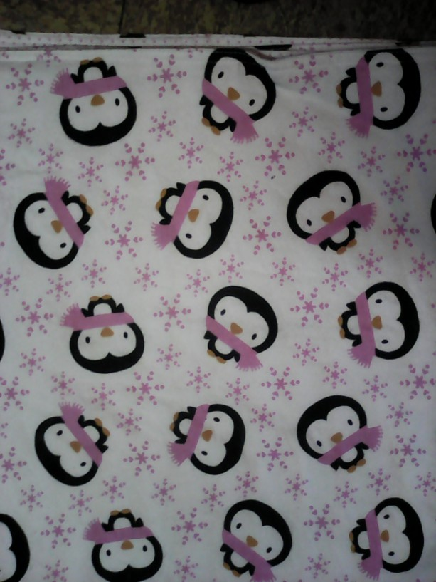 Baby Blanket Penguins and Snowflakes Flannel Double Sided