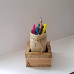 Rustic Wood Box with Mason Jar