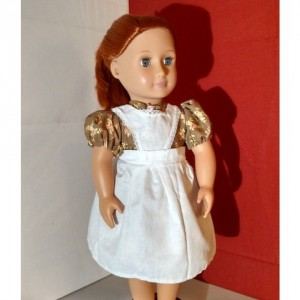 "Custom prairie dress and pinafore, hand sewn 18"" doll clothes - Hand sewn, heirloom quality"