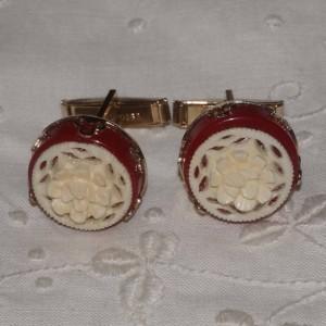 Vintage Carved Coral Rose Flower & Red Bakelite Cufflinks Cuff Links