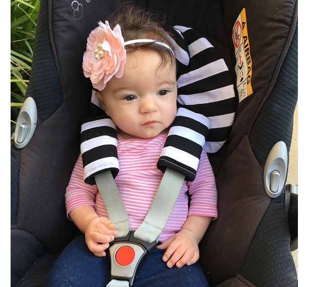 Infant Car Seat Head Support Black And White Stripes Monochrome Gender Neutral