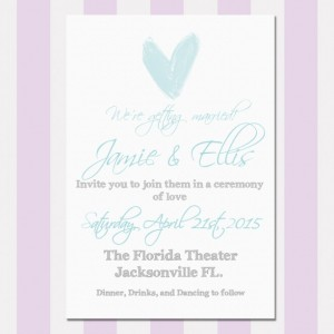 Light Blue and Gray Shabby Chic wedding Invitation, Printed, Custom Invitation, Letterpress, Flat Printed, Watercolor Heart, Rustic, Deposit