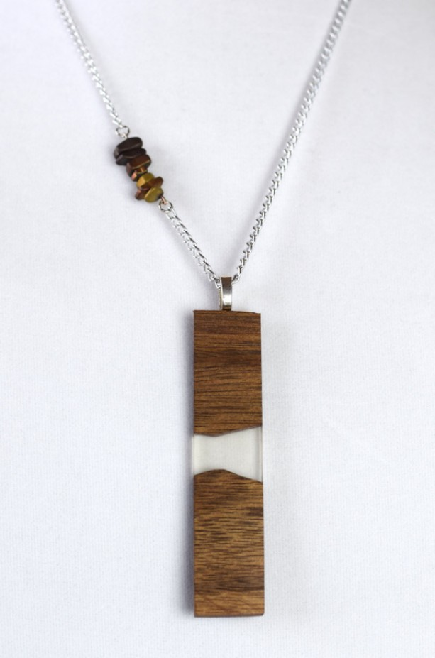 Wood and Resin Pendant - Handmade with Stone Accent Chain