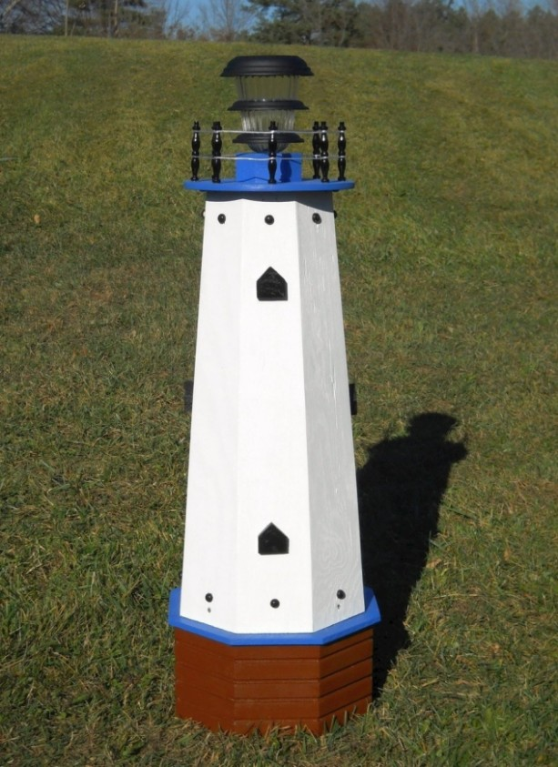 "36"" Solar lighthouse wooden decorative lawn and garden ornament - blue accents"