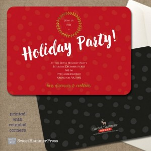 Red Christmas Party Invitation Holiday Party Invite Bold Red with Gold Metallic Holiday Party Script Black Back Digital or Printed Option