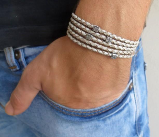 Men Bracelet - Men Beaded Bracelet - Men Leather Bracelet - Men Jewelry - Men Gift - Husband Gift - Boyfriend Gift - Gift For Dad