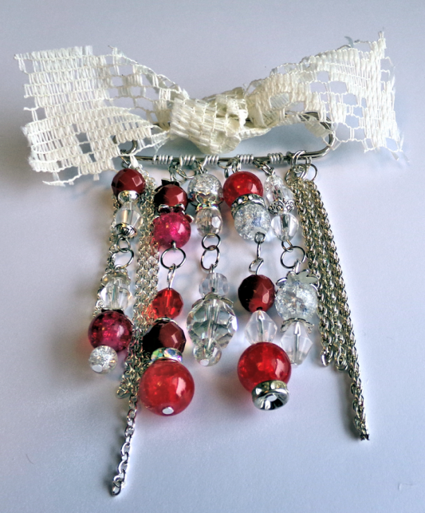Brooch with Red and Clear Glass Beads