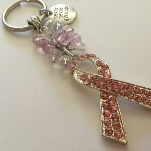 Breast Cancer Awareness Keychain, Awareness Ribbon Bag Charm, Motivational Gift, Never Give Up, Pink Ribbon, Rearview Mirror