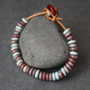 Glass Beaded Bracelet - Coral, Copper-Green - Leather Cord
