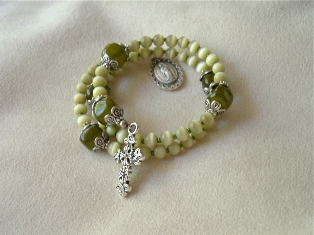 Rosary Bracelet of Green Catseye Glass Beads, Silvertone Findings