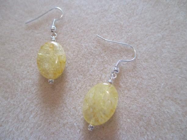 Lemon Drop Ladies Cracked Quartz Crystal Gemstone Pierced Earrings