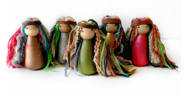 Woodland Fairy dolls - Fairy peg dolls - Fairy party favor - Fairy toy - Wooden fairy doll - Peg people - Stocking stuffer - toys for girls