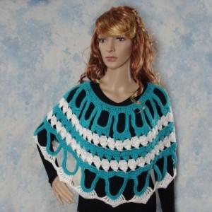 "Handmade Crochet Poncho, crochet Cape, Shawl, Capelet, Poncho Crochet, cape crochet, Turquoise and White, ""Elizabeth"""