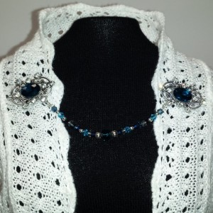 Sapphire and rhinestone sweater clip
