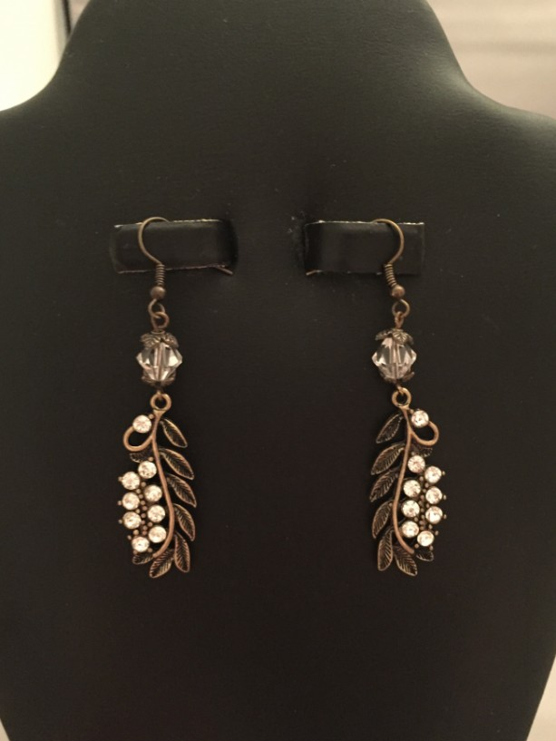 Real Czech Crystal and Antique Brass Leaves Drop Earrings