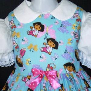 NEW Handmade Dora The Explorer W/Butterflies Blue Dress Custom Sz 12M-14Yrs