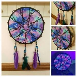 Boho Decor, Tambourine, Art piece, Hand Painted Dream Catcher, Tamborine, Glow in the Dark, Black Light Galaxy Painting, Teal dreamcatcher