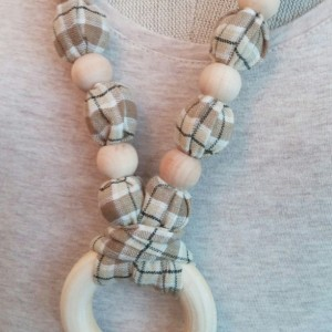 Natural Wood Bead Necklace with Ring - Free Shipping