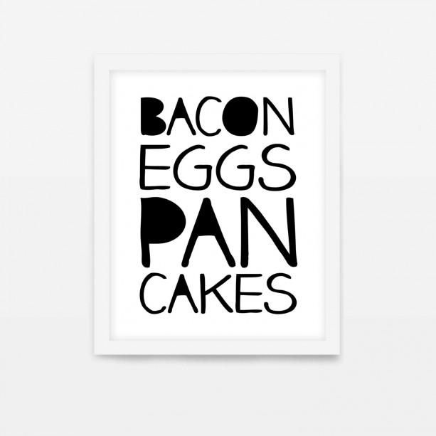 Kitchen Wall Art   Breakfast Art Print   Bacon Eggs Pancakes   Minimalist Kitchen Poster   Typography Kitchen Print   Bacon and Eggs