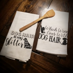 Custom flour sack kitchen towels!  Dog friendly! Set of 2