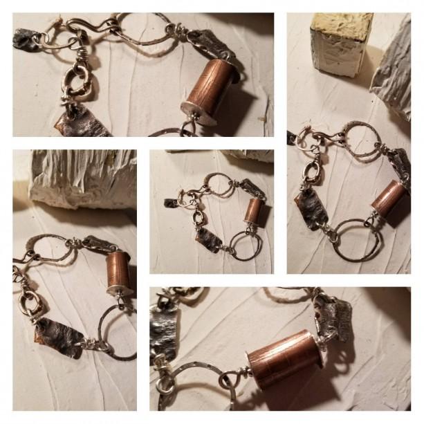 Sterling and Copper Links Bracelet