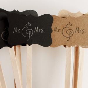 Drink Stir Sticks, Wedding Mr and Mrs Stamped Drink Sticks, Rustic Country Wedding Shower Drink Stirrers, Signature Drink Stir Sticks, 25 PC