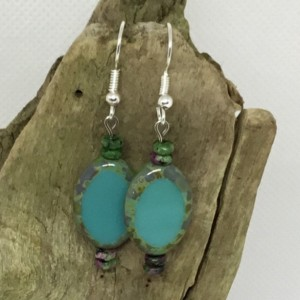 Blue Dangle earrings, Czech Turquoise Green earrings, Boho earrings, Silver wire earrings, multi color seed beads, Beach earrings