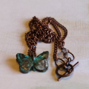 Antiqued Patinated Copper Butterfly