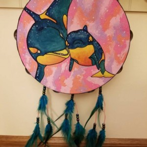 Boho Decor, Tambourine, Percussion Art Piece, Hand Painted Dream Catcher, galaxy, Orca Painting, Dream Catcher, Ocean Painted Instrument