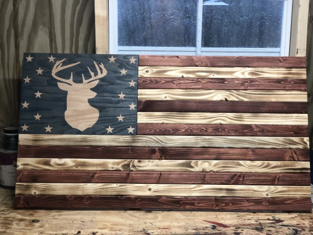 Deer Wooden flag