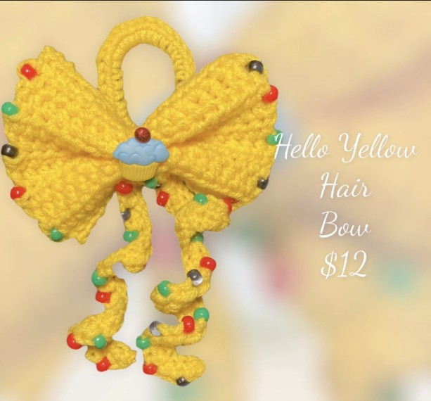Hello Yellow Hair Bow