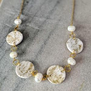 Statement Necklace | White and Gold stylish necklace | bridal necklace | Handmade Boho Necklace | Modern necklace