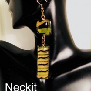Resin African Print Fabric Dangle Earrings