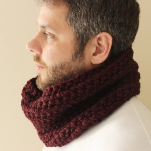 SALE - Unisex Crochet Circle Scarf in Oxblood - Cowl Scarf - Neckwarmer - Ready to Ship