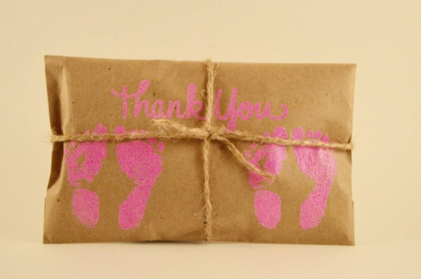10 Twin Shower Favors. Pink and Kraft Paper Favors. Fresh Roasted Coffee Favors. Embossed Favors. Handmade. Thank You