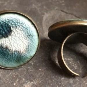 Adjustable Statement Ring in Black & Celadon