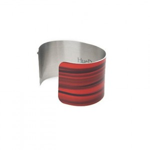 Photo cuff bracelet, aluminum, Mesmerizing Red Abstract, fine art for your wrist, HueDew