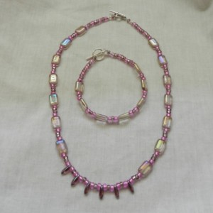 Amethyst Window Necklace & Bracelet Set.