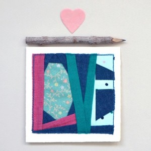 Patchwork LOVE card -- sewn fabric greeting card