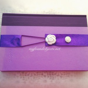 Bookmark, Purple Floral Ribbon & White Flower Buttons