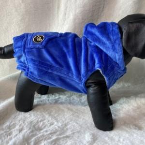 "XS Blue plush hoodie 15-16"" girth"