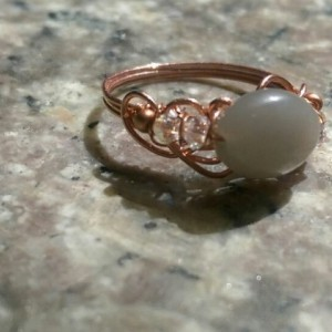 Grey Moonstone Copper Ring