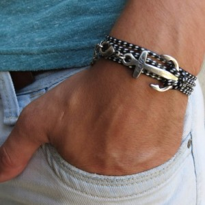 Man Anchor Bracelet - Man Nautical Bracelet - Sailor Bracelet - Man Bracelet - Man Jewelry - Man Gift - Boyfriend Gift - Husband Gift - Male