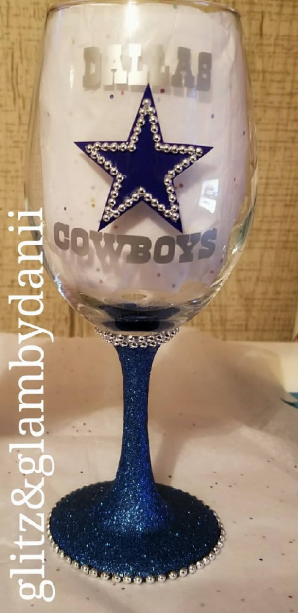 Custom Dallas Cowboys Wine Glass