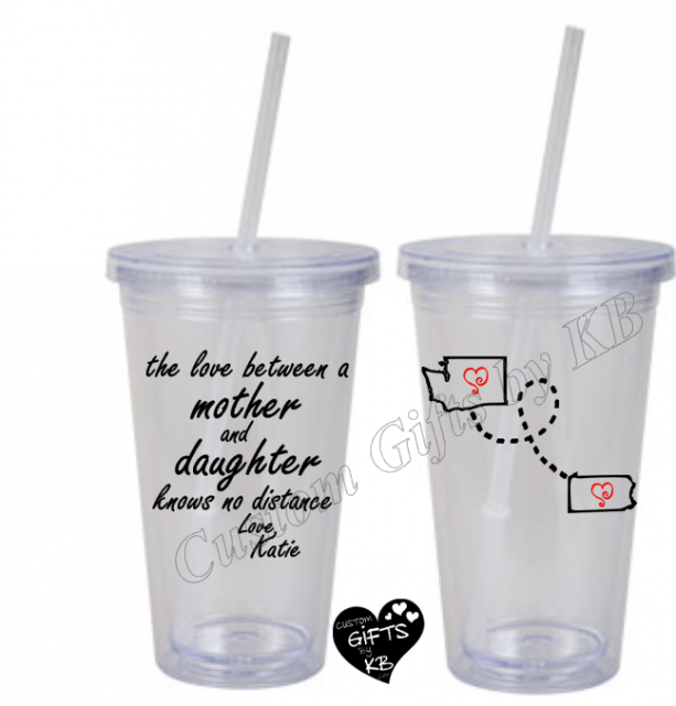 Mother and Daughter knows no distance Tumbler with Miss you States, Miss you Tumbler with Straw, Long Distance, Mother n daughter, Custom