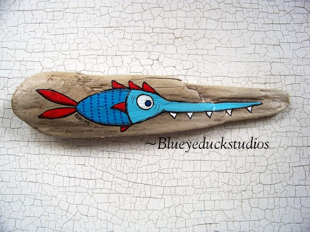 [SOLD] Special Get to Know ME pricing Hand Painted Driftwood Original Folk Art painting Whimsical Lake Erie Coastal Whimsy SAW FISH Mini